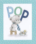 Grandad Birthday Card: Pop Teddy Blue Dots