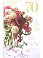 Age Card 70 Female Birthday Flower Bouquet