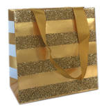 Gift Bag: Small - Gold Stripe On Gold