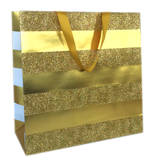 Gift Bag: Large - Gold Stripe On Gold