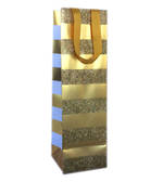 Gift Bag: Bottle Gold Stripe On Gold