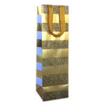 Gift Bag: Bottle - General Gold Stripe On Gold