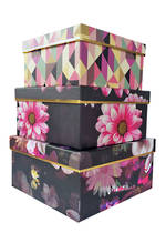 Night Floral: Set of 3 Small Square Boxes