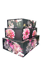 Night Floral: Set of 3 Large Tab Boxes