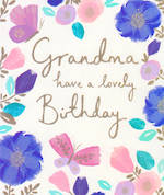 Grandmother Birthday Card: Flowers & Butterfly