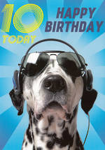 Age Card 10: Boy Happy Birthday Dalmatian