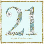 Age Card 21 Female Square Flowers Mint